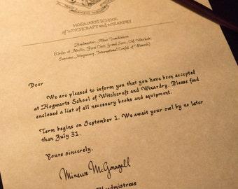 Handwritten custom Harry Potter Hogwarts acceptance letter