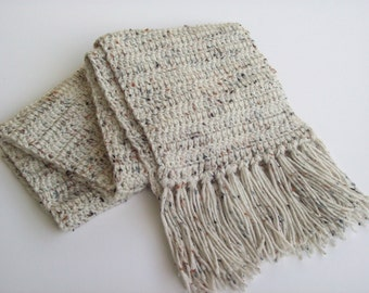 Crochet Winter Neck Scarf with Fringe