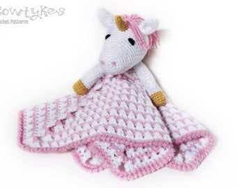 Unicorn Lovey CROCHET PATTERN instant download - blankey, blankie, security blanket