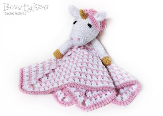 Knitting Pattern For Unicorn Blanket : Unicorn Lovey CROCHET PATTERN instant download blankey