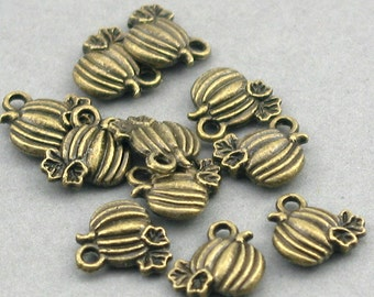 Pumpkin Charms Halloween Antique Bronze 12pcs pendant beads 10X10mm CM0126B