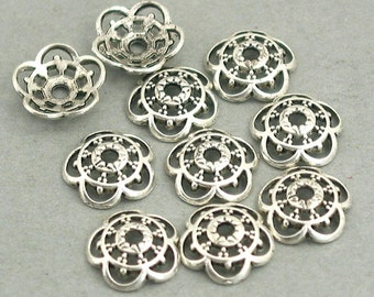 Flower Bead Caps Antique Silver 20pcs base metal 10mm BD0053SC