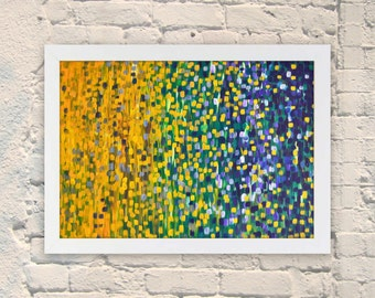 Giclee Print - Summer Nights - Giclee Print of Abstract Acrylic Painting on Canvas - Blue, Yellow, Green