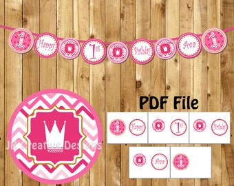 Princess Happy 1st birthday banner Princess Banner Pink! 1st Birthday Party Hot Pink Crown banner Girl birthday banner (DIY Printable PDF)
