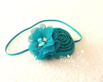 State of the Art Headband. Baby Headband, Infant Headband, Teal Headband. Rosette Chiffon Headband. Photography Prop.