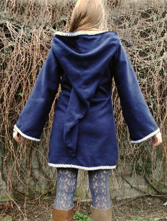 Festival Elf Dress - Medieval Womens Tunic with Pixie Pointy Hoodie - Game of Thrones Costum - Link hoodie - PSY hoodie  elven dress