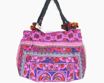 Pink Bird Tote bag  HMONG Embroidered Bag Hippie Boho Handmade Thailand (BG122-PIB)