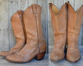 Vintage Cowboy Boots Country Western Tan Leather Stacked Heel Justin Cowboy Boots, 10 D Mens
