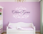 Name Wall Decal Damask Wall Decal Shabby Chic Heart Frame Personalized Name and Initial Vinyl Wall Decal for Girl Baby Nursery WA339