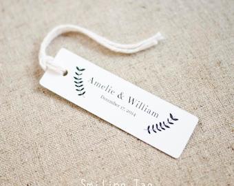 Vintage inspired Handdrawn Laurel Design Wedding Favor Tags - Gift Tags - Favor Bag Tag - Bridal Shower - Set of 40 (Item code: J410)