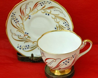 Reduced: Vintage ROYAL CHELSEA English BONE China Cup n Saucer Pattern #4986 With Gold n Blue Decoration On White Background Exc Condition!