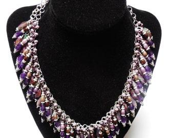Sterling Silver Amethyst Necklace Earrings CLEOPATRA Statement Purple Jewelry Set OOAK Genuine A Grade Amethyst Gemstone Ooak Handmade