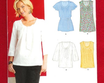 New Look 6868 Misses' Tops, With Sleeve Variations, Scoop Neck, and Gathered Front, Sizes 8 to 18