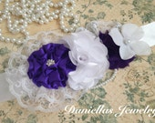 Vintage Maternity sash/Belly Bouquet /it's a girl/photography prop/purple and white
