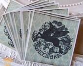Bookplate Stickers- Folk Art Floral Pegasus