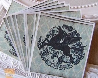 PERSONALIZED Bookplate Stickers- Folk Art Floral Pegasus
