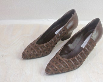 Vintage Woven Leather Chocolate Alberto Valentino Italian Heels Sz 38/7
