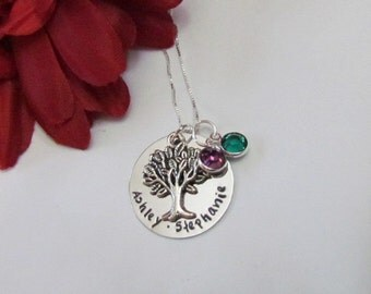 FAMILY TREE Necklace with birthstones//personalized hand Stamped Jewelry //Mothers day Necklace/Gifts for mom/gift for grandma//gift boxed