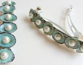 Beach Pearl and Limpet Shell Hair Barrettes - Something Blue