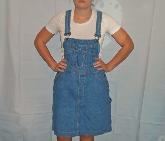 90s Plus Size Overall Dress Denim Jean Overalls By