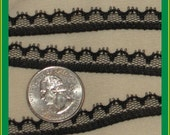 2 yards NEW extra-narrow flat lace trim - black, 3/8ths inches wide
