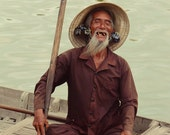 Old Man Portrait, Fine Art Travel Photography, Vietnam, Hoi An, Smile, Ethnic Portrait, Boat on River, Black and White or Colour - Purity