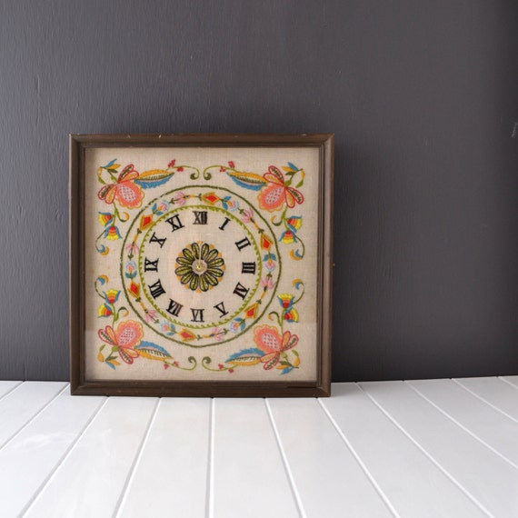 Vintage Wall Clock - Embroidered Clock Face - Colorful Flowers ...