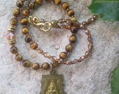 Tiger's Eye Stone Bohemian Beaded and Thai Buddha Pendant Necklace