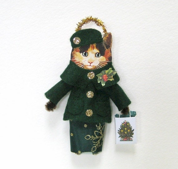 Vintage Style Christmas Ornament HOLIDAY SHOPPING CAT Cute