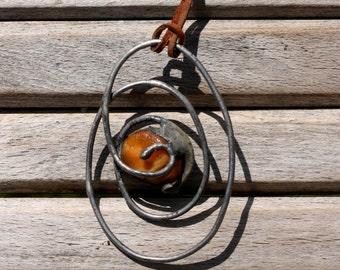 Pagan pendant - Baltic amber pendant - steampunk pendant OOAK Fairy necklace heart shape