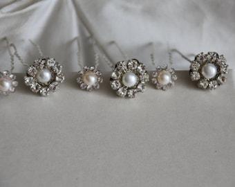 bridal hair adornments Pearl and Crystal Rhinestone Bridal hair accessories bobby pins Bridesmaids vintage style wedding hairPiece Pearl pin