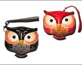 Leather  OWL Coin Purse, Wallet, Wristlet, Purse for Change FREE shipping in US