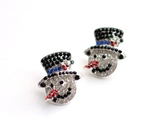 "2 Snowman Buttons - Slide Buttons - Mixed Color Rhinestones - 1"" Tall - Ships IMMEDIATELY from California - RB14"