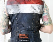 Leather Vest Red White Blue