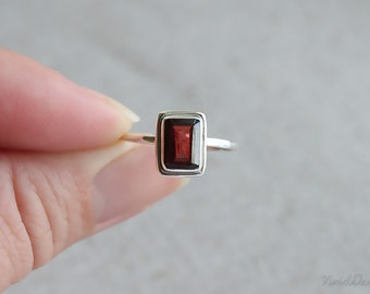 Emerald Cut Garnet Ring, January Birthstone Ring, Stacking Ring