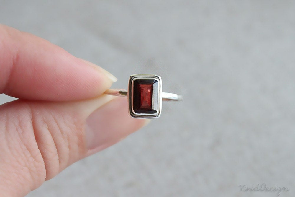 Emerald cut garnet ring january birthstone ring stacking for Garnet wedding ring meaning
