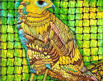 Vibrant  Zentangle Inspired Art - Abstract Hawk, Bird of Prey, Modern Cubism, Original Painting by  ebsq Artist Ricky Martin  FREE SHIPPING