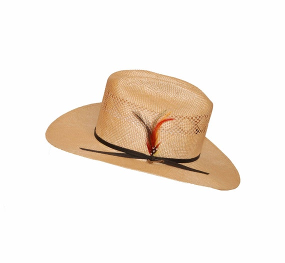 Stetson Straw Cowboy Hat Feather Hatband Black Branding Iron