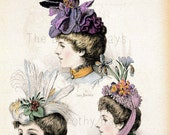 Vintage women with beautiful hats print for framing - printed heavy card stock - elegant women - vintage advert - millinery - hats New York