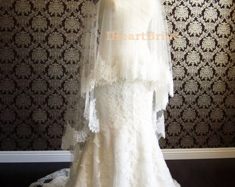 """Waltz Length Lace Drop Veil Silk Tulle Veil French Chantilly Lace by IHeartBride V-MA72 Fanette 72"""" Wide Sheerest Silk Tulle Ivory or White"""