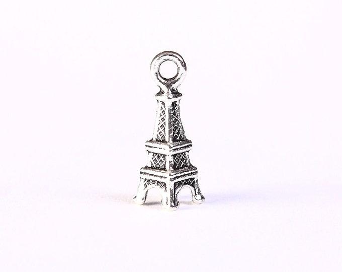 Eiffel Tower Paris charm pendant antique silver - 17mm x 6mm - 5 pieces (1337) - Flat rate shipping