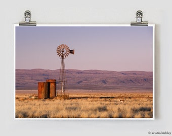 West Texas Sunrise Marfa Alpine Windmill Fine Art Photography Print