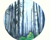 Forest No.3, 8x11 Art Print, Watercolor Painting, Landscape Painting, Forest Painting