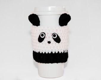 Panda Coffee Cozy- Crochet Coffee Cozy- Coffee Cozy- Animal Coffee Cozy- Blank And White-Coffee Cup Cover