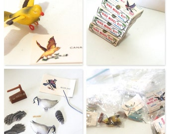 Vintage RARE Large Collection Lot of 18 Marx Miniature Bird Model Kit Original Box Story Cards Stands ASSEMBLY REQUIRED Christmas Ornaments