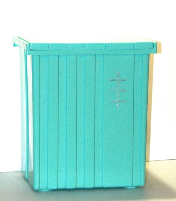 Vintage retro atomic turquoise aqua teal by for Turquoise bathroom bin
