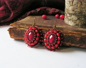 Beadwork Earrings Red Earrings Bead embroidery Earrings Red dangle Earrings Bead embroidery jewelry Boho jewelry Red Brown MADE TO ORDER