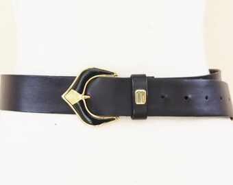 Jacques Vert 1980s Navy And Gold Belt