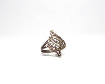 Vintage Filigree Ring Sterling Ring Size 6 and a Half