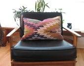 "Modern Bohemian Throw Pillow / Handwoven Wool Vintage Tribal Turkish Kilim Pillow Cover/ 20""x14"""